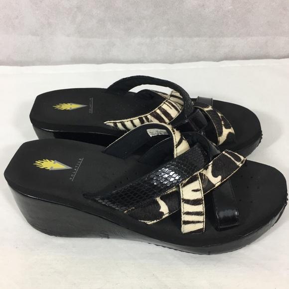 Volatile Wedge Slide Sandals Leather Animal Print